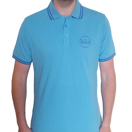 The Beatles - Embroidered Drum Logo - Light Blue Polo Shirt