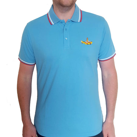 The Beatles - Embroidered Yellow Submarine Logo - Light Blue Polo Shirt
