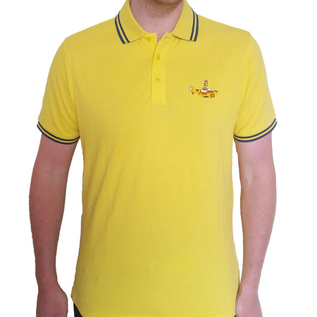 The Beatles - Embroidered Yellow Submarine Logo - Yellow Polo Shirt