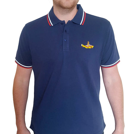 The Beatles - Embroidered Yellow Submarine Logo - Navy Blue Polo Shirt