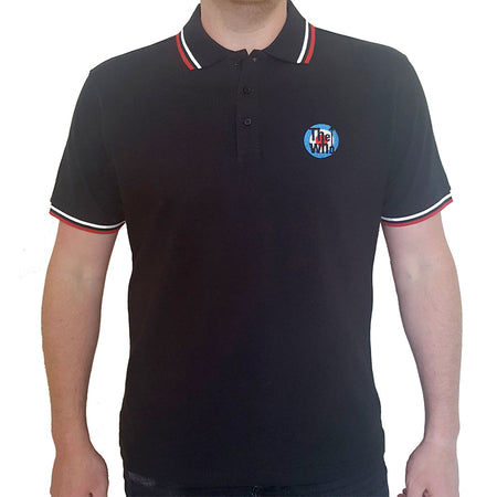 The Who - Embroidered Target Logo - Black Polo Shirt