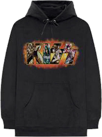 Kiss - Comic Logo - Black Hooded Sweatshirt