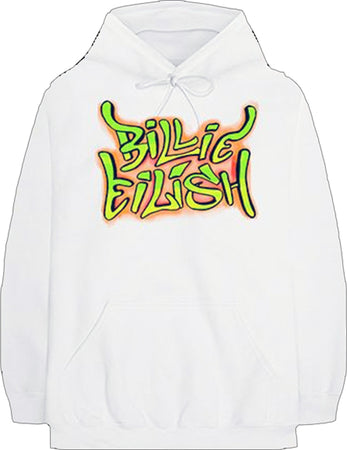 Billie Eilish - Grafitti Logo - White Hooded Sweatshirt
