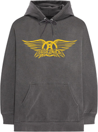 Aerosmith - Winged Crest - Grey Hooded Sweatshirt