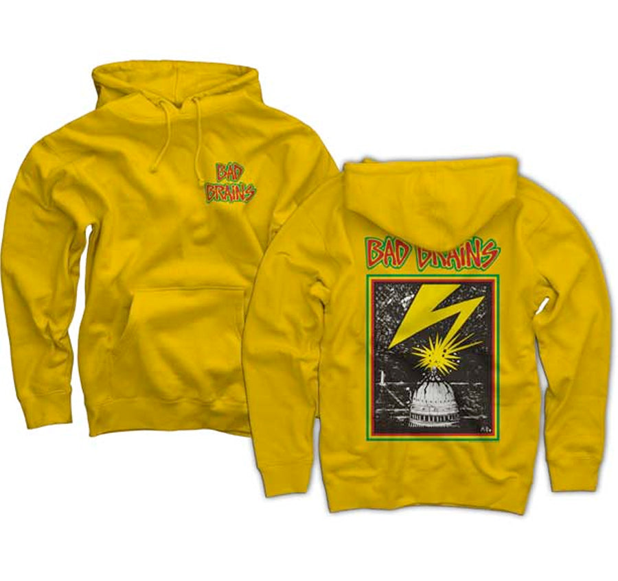 Bad Brains - Front Logo -  Yellow Pullover  Hooded Sweatshirt