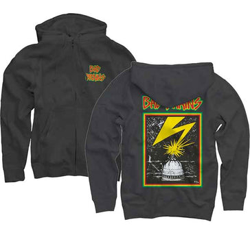 Bad Brains - Front Logo -  Zip Black Hooded Sweatshirt