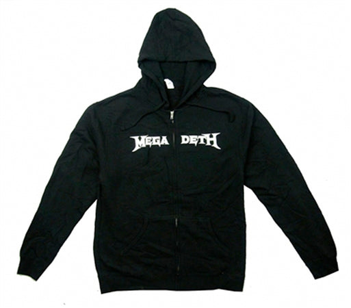 Megadeth - White Logo with Vic Backprint - Zip Black Hooded Sweatshirt