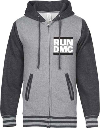 RUN DMC- Two Tone Grey Varsity Logo - Zip Up Hooded Sweatshirt