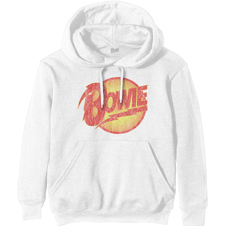 David Bowie - Vintage Diamond Dogs Logo - Pullover White Hooded Sweatshirt