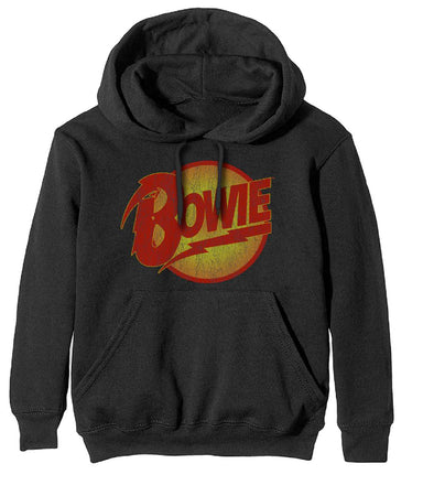 David Bowie - Vintage Diamond Dogs Logo - Pullover Black Hooded Sweatshirt