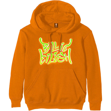 Billie Eilish - Airbrush Flames - Pullover Orange Hooded Sweatshirt