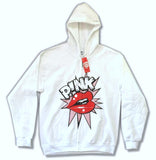Pink - Lips-Pop Art Design - White Zip up Hooded Sweatshirt