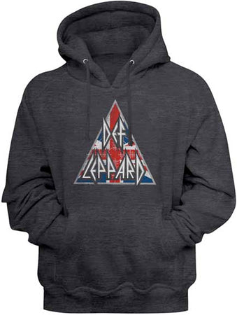 Def Leppard - Brit Logo - Charcoal Heather Hooded Sweatshirt