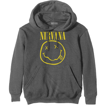Nirvana - Yellow Smiley - Pullover Charcoal Grey Hooded Sweatshirt