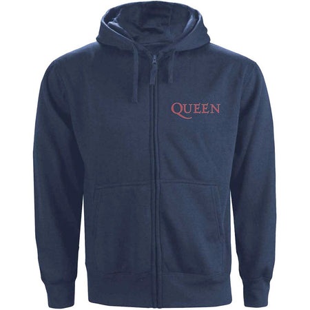 Queen - Classic Crest - Zip Navy Blue Hooded Sweatshirt