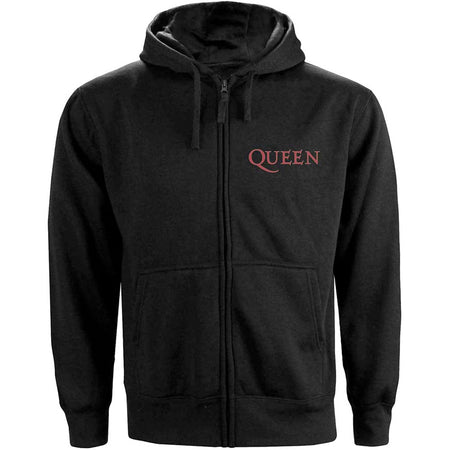 Queen - Classic Crest - Zip Black Hooded Sweatshirt