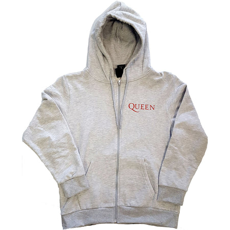 Queen - Classic Crest - Zip Ash Grey Hooded Sweatshirt