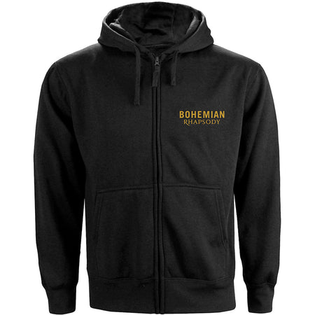 Queen - Bohemian Rhapsody Movie Poster - Zip Black Hooded Sweatshirt