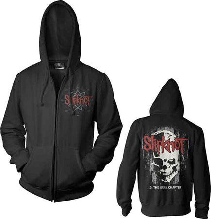 Slipknot - Skull Back - Zip Up Black Hooded Sweatshirt