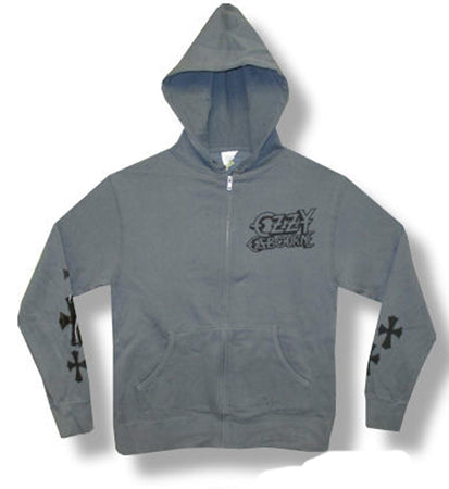 Ozzy Osbourne - Skull and Crosses - Ash Grey Zip Up  Hooded Sweatshirt