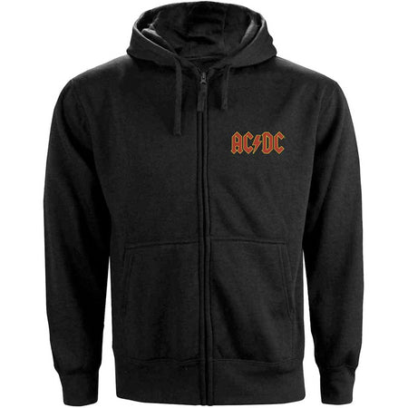 AC/DC - Logo with Backprint - Zip Black Hooded Sweatshirt