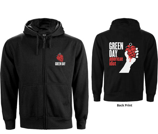 Green Day - American Idiot -Zip Black Hooded Sweatshirt