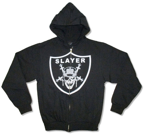 Slayer - Raider Skull - Zip Up Black Hooded Sweatshirt