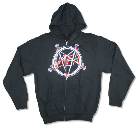 Slayer - Pentagram - Zip Up Black Hooded Sweatshirt
