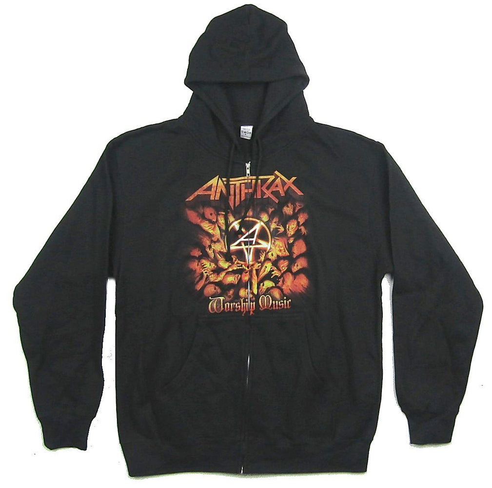 Anthrax - Worship Music - Zip Up Black Hooded Sweatshirt