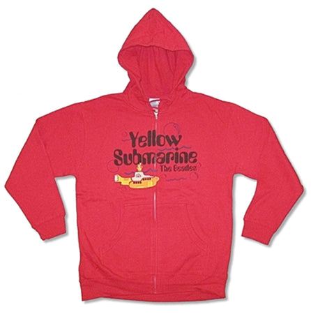The Beatles- Yellow Submarine- Zip Up  Red Hooded Sweatshirt