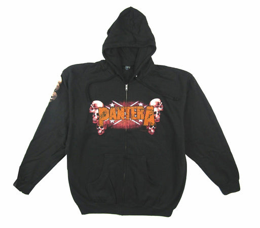Pantera - Skulls Logo- Black Zip Up  Hooded Sweatshirt