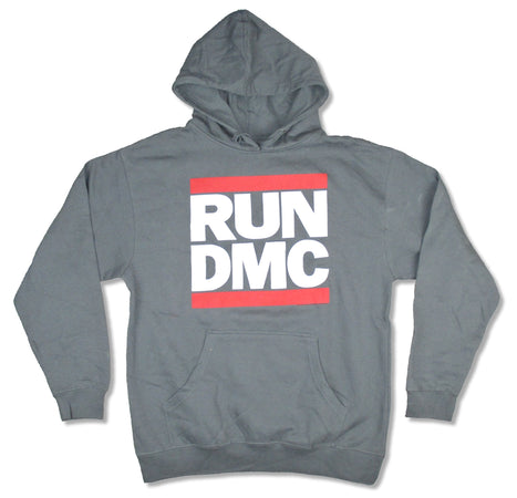 RUN DMC- Classic Logo - Charcoal Hooded Sweatshirt