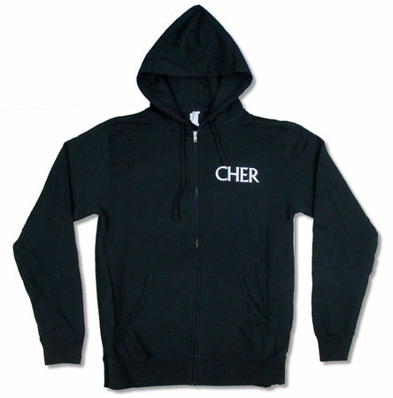 Cher - Classic Cher- Park Theater Tour - Zip Up Black Hooded Sweatshirt