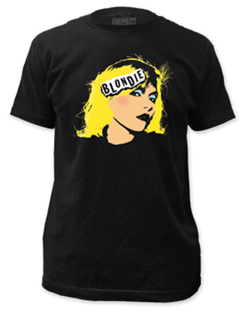Blondie Debbie Harry Face on Black men's fitted lightweight T-shirt