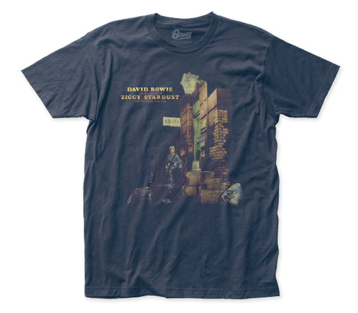 David Bowie - Ziggy In The Street - Sueded Navy Blue t-shirt