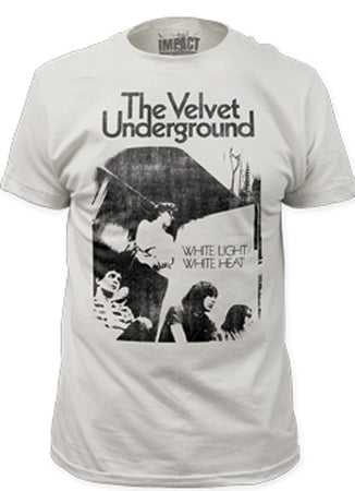 Velvet Underground Distressed White Light/White Heat  Men's Fitted Vintage White  t-shirt