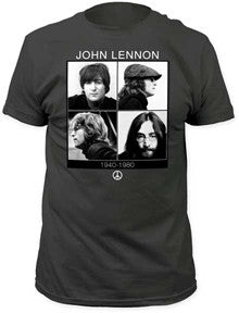 John Lennon 1940-1980 Four Faces Charcoal Fitted t-shirt