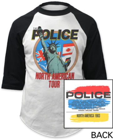 The Police - North American Tour -  Raglan Baseball Jersey t-shirt
