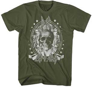 Def Leppard Skull Army Green Lightweight t-shirt