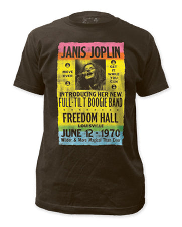 Janis Joplin Freedom Hall Poster Coal Fitted t-shirt