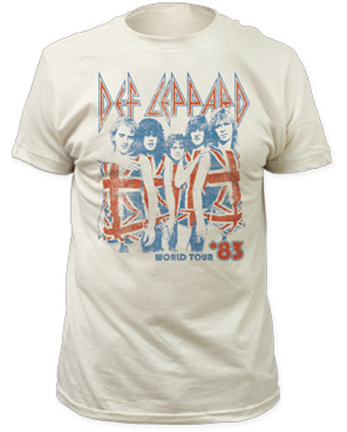 Def Leppard  83 World Tour Vintage White Fitted t-shirt