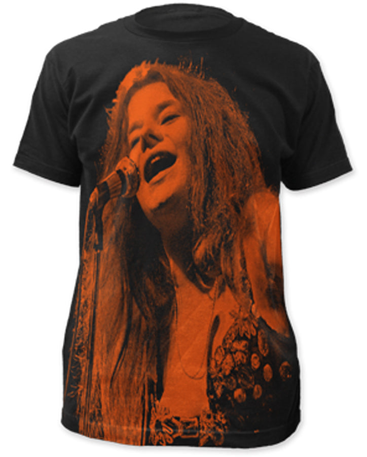 Janis Joplin-Icon Subway Print-Black Lightweight t-shirt