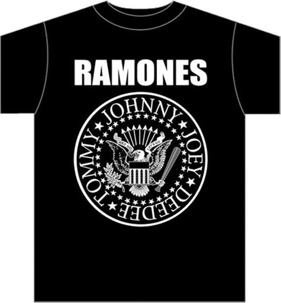 The Ramones Classic Seal logo on Black t-shirt