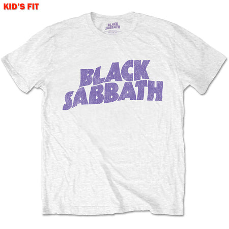 Black Sabbath-Wavy Logo-KIDS SIZE White T-shirt