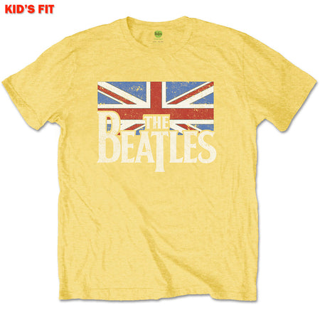 The Beatles - Logo & Vintage Flag-KIDS SIZE Yellow T-shirt