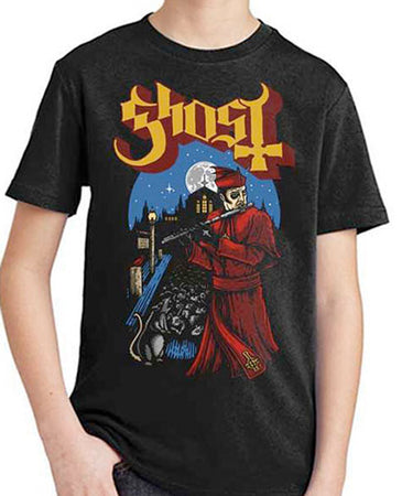 Ghost - Pied Piper-KIDS SIZE Black T-shirt