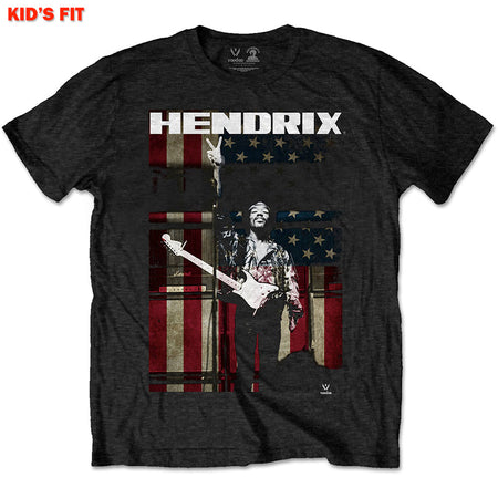 Jimi Hendrix - Peace Flag-KIDS SIZE Black T-shirt
