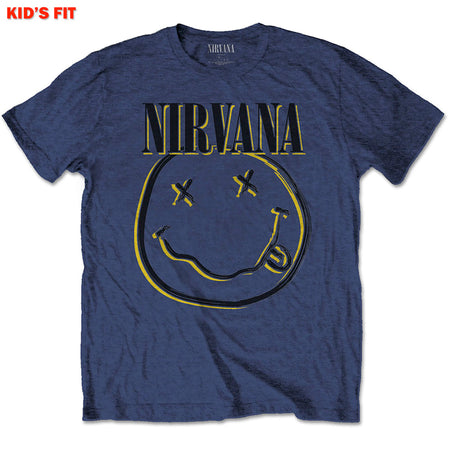 Nirvana-Kurt Cobain - Inverse Smiley-KIDS SIZE Navy Blue T-shirt