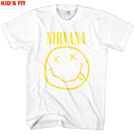 Nirvana-Kurt Cobain - Yellow Smiley-KIDS SIZE White T-shirt