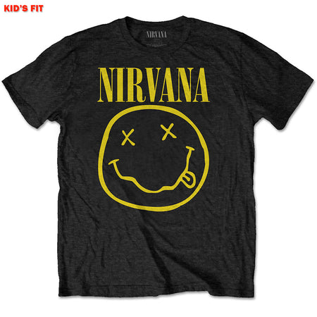 Nirvana-Kurt Cobain - Yellow Smiley-KIDS SIZE Black T-shirt